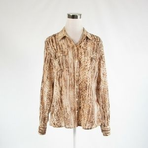 Brown LUCKY BRAND button down blouse L